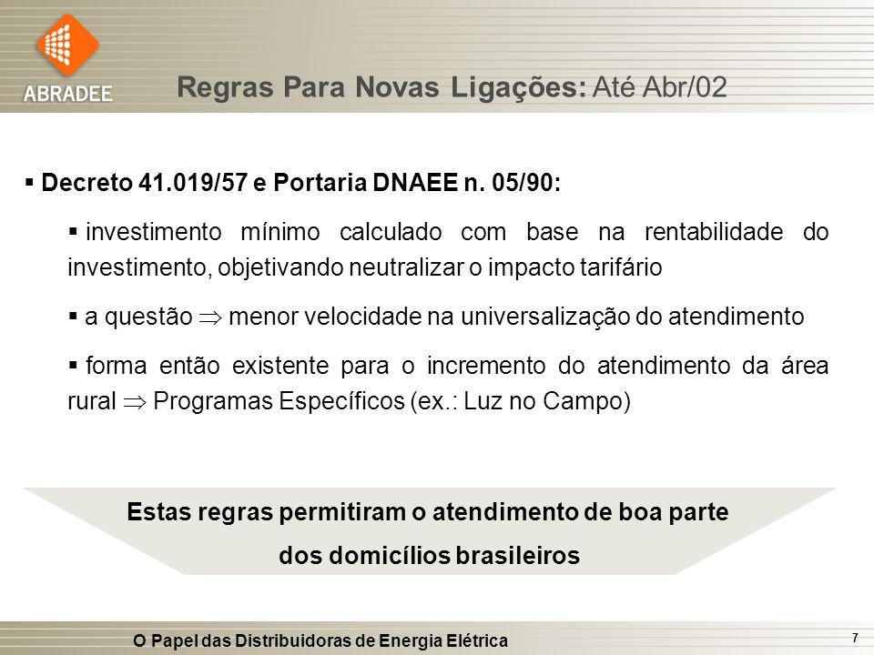 O Papel das Distribuidoras de Energia Elétrica 7 Decreto 41.019/57 e Portaria DNAEE n. 05/90: investimento mínimo calculado com base na rentabilidade
