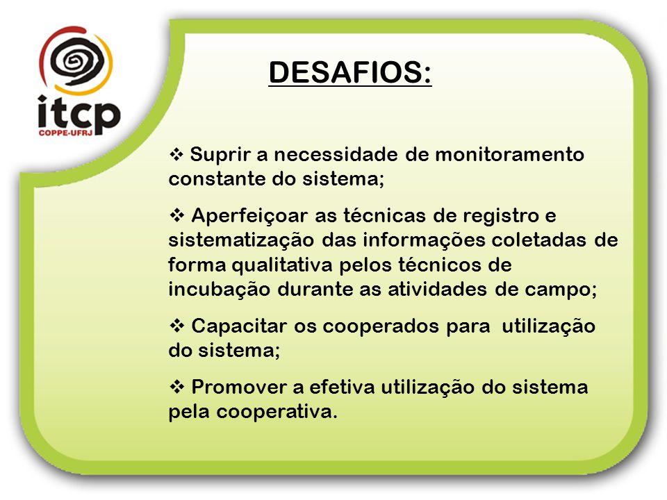DESAFIOS: Suprir a necessidade de monitoramento constante do sistema; Aperfeiçoar as técnicas de registro e sistematização das informações coletadas d