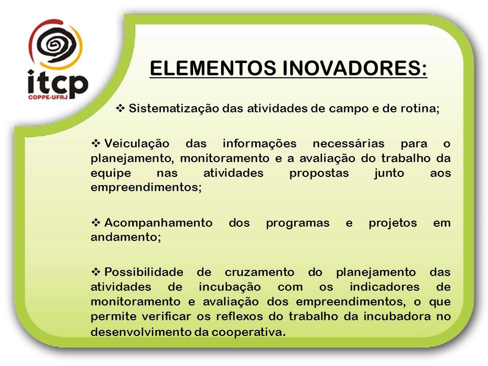 ELEMENTOS INOVADORES: Sistematização das atividades de campo e de rotina; Veiculação das informações necessárias para o planejamento, monitoramento e