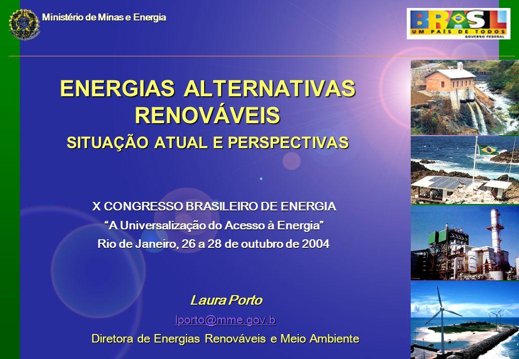ENERGIAS ALTERNATIVAS RENOVÁVEIS SITUAÇÃO ATUAL E PERSPECTIVAS Ministério de Minas e Energia Laura Porto lporto@mme.gov.b Diretora de Energias Renováveis e Meio Ambiente X CONGRESSO BRASILEIRO DE ENERGIA A Universalização do Acesso à Energia Rio de Janeiro, 26 a 28 de outubro de 2004