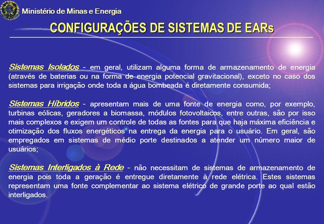CONFIGURAÇÕES DE SISTEMAS DE EARs Ministério de Minas e Energia Sistemas Isolados - em geral, utilizam alguma forma de armazenamento de energia (atrav
