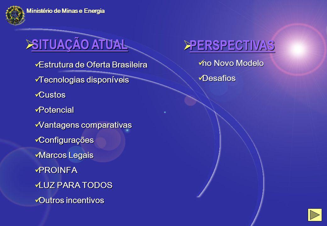 Estrutura de Oferta Brasileira Estrutura de Oferta Brasileira Tecnologias disponíveis Tecnologias disponíveis Custos Custos Potencial Potencial Vantag