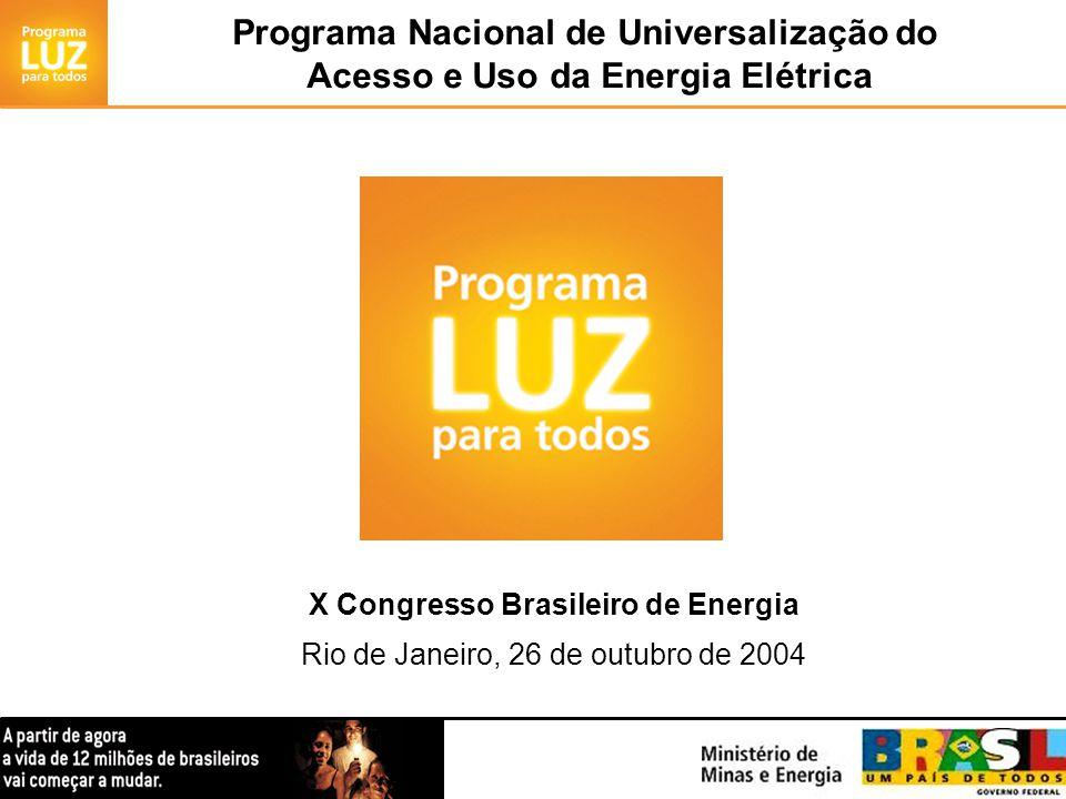 Programa Nacional de Universalização do Acesso e Uso da Energia Elétrica X Congresso Brasileiro de Energia Rio de Janeiro, 26 de outubro de 2004