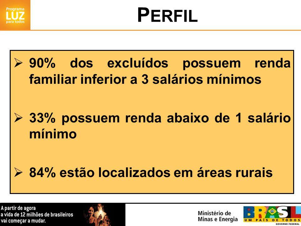 90% dos excluídos possuem renda familiar inferior a 3 salários mínimos 33% possuem renda abaixo de 1 salário mínimo 84% estão localizados em áreas rurais P ERFIL