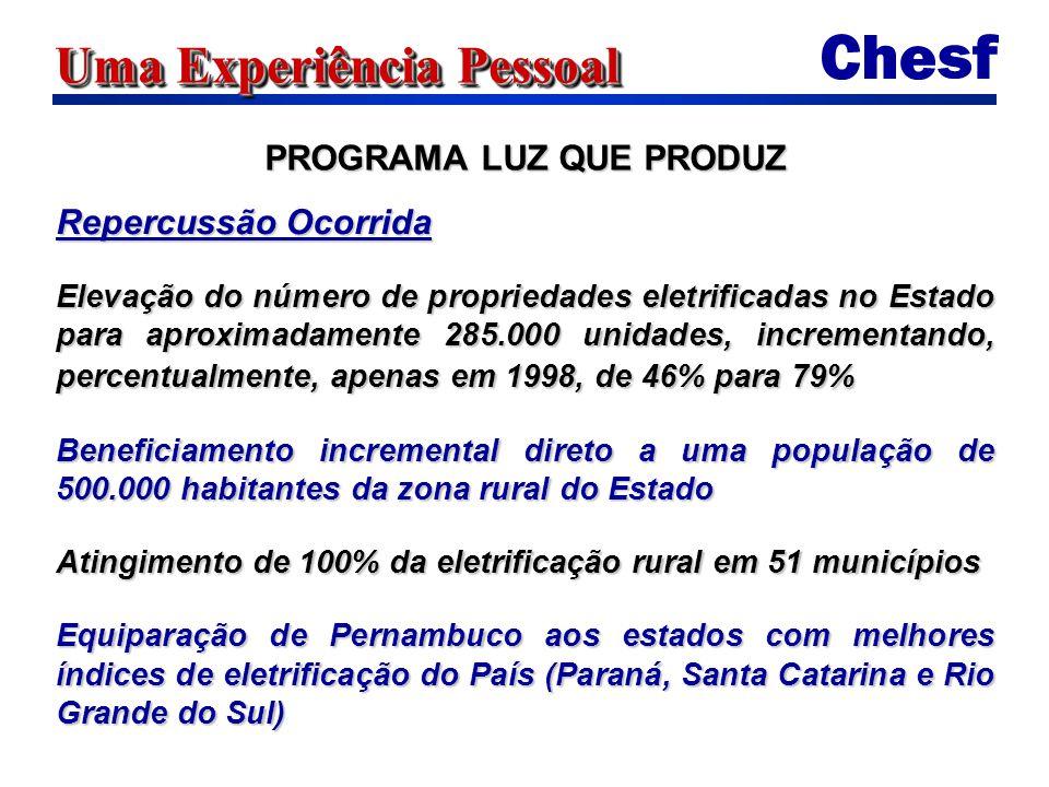 Uma Experiência Pessoal Repercussão Ocorrida Elevação do número de propriedades eletrificadas no Estado para aproximadamente 285.000 unidades, incrementando, percentualmente, apenas em 1998, de 46% para 79% Beneficiamento incremental direto a uma população de 500.000 habitantes da zona rural do Estado Atingimento de 100% da eletrificação rural em 51 municípios Equiparação de Pernambuco aos estados com melhores índices de eletrificação do País (Paraná, Santa Catarina e Rio Grande do Sul) PROGRAMA LUZ QUE PRODUZ