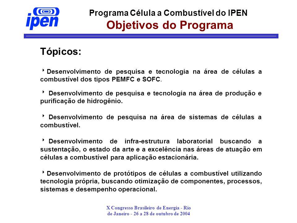X Congresso Brasileiro de Energia - Rio de Janeiro - 26 a 28 de outubro de 2004 Programa Célula a Combustível do IPEN Objetivos do Programa Tópicos: Desenvolvimento de pesquisa e tecnologia na área de células a combustível dos tipos PEMFC e SOFC.