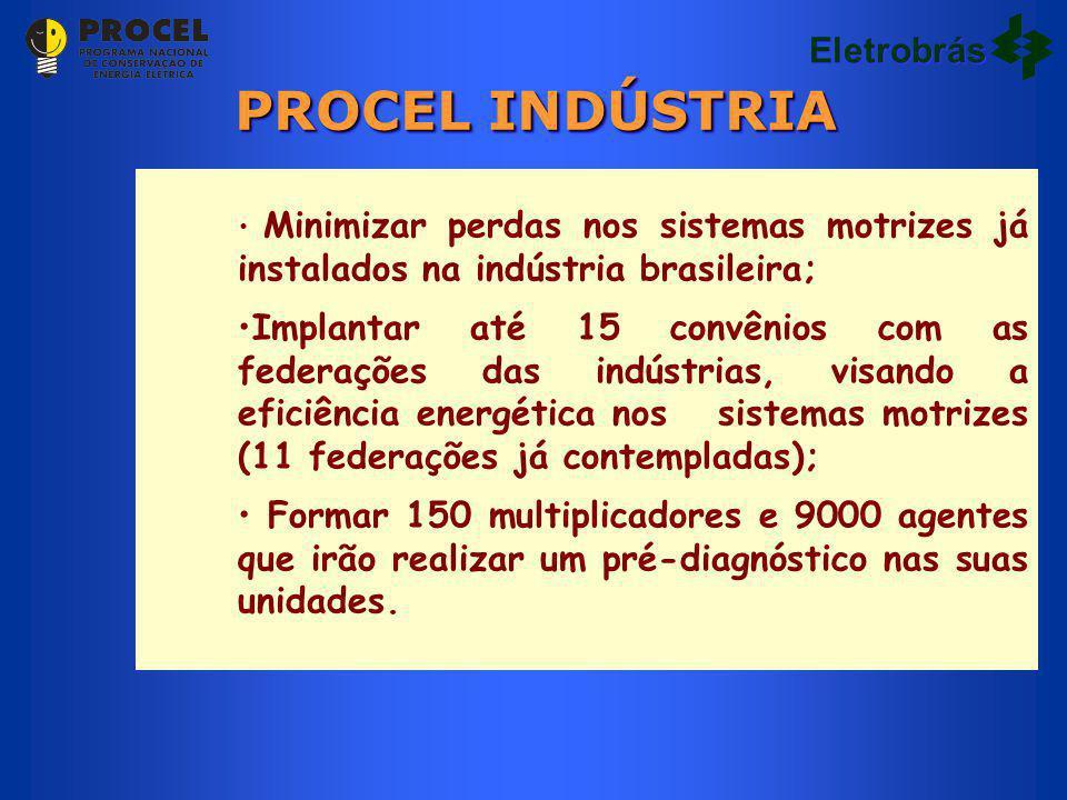 Minimizar perdas nos sistemas motrizes já instalados na indústria brasileira; Implantar até 15 convênios com as federações das indústrias, visando a e