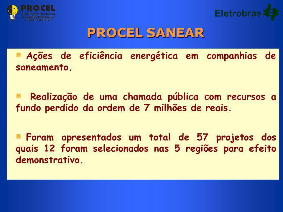 Ações de eficiência energética em companhias de saneamento. Realização de uma chamada pública com recursos a fundo perdido da ordem de 7 milhões de re