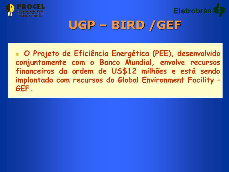 Eletrobrás O Projeto de Eficiência Energética (PEE), desenvolvido conjuntamente com o Banco Mundial, envolve recursos financeiros da ordem de US$12 milhões e está sendo implantado com recursos do Global Environment Facility – GEF.