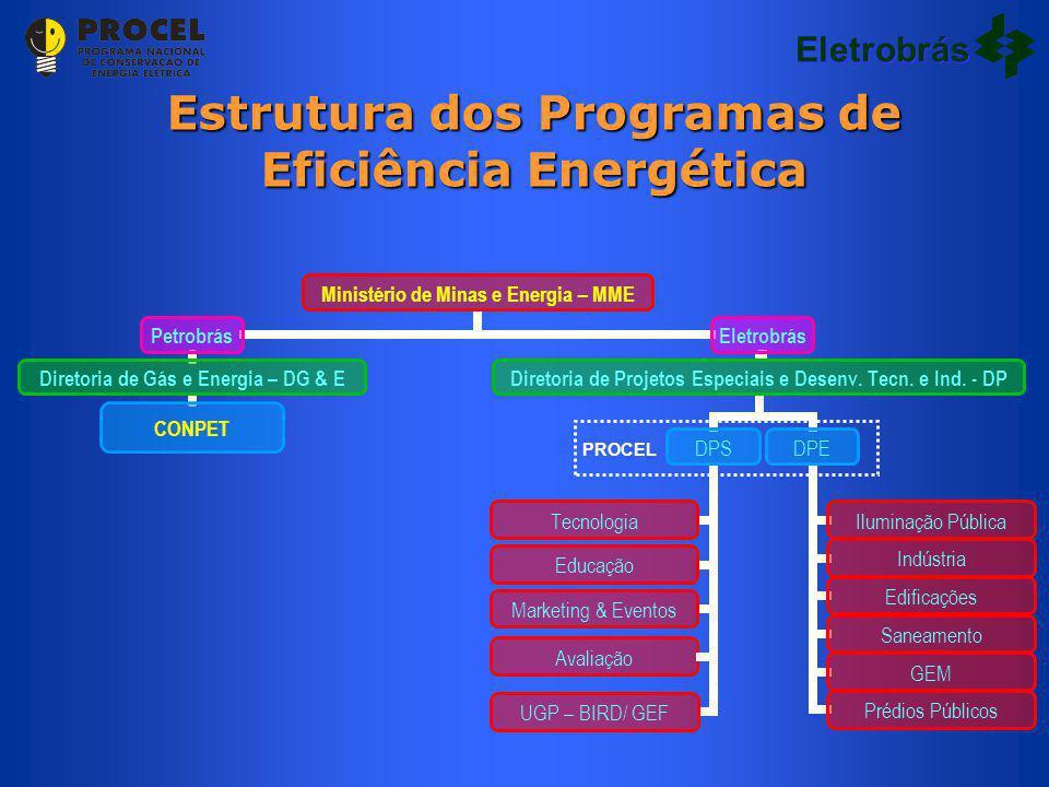 Estrutura dos Programas de Eficiência Energética UGP – BIRD/ GEF PROCEL Eletrobrás