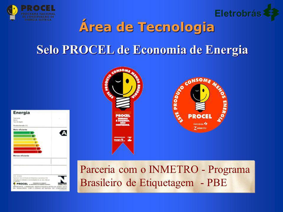 Parceria com o INMETRO - Programa Brasileiro de Etiquetagem - PBE Selo PROCEL de Economia de Energia Área de Tecnologia Eletrobrás