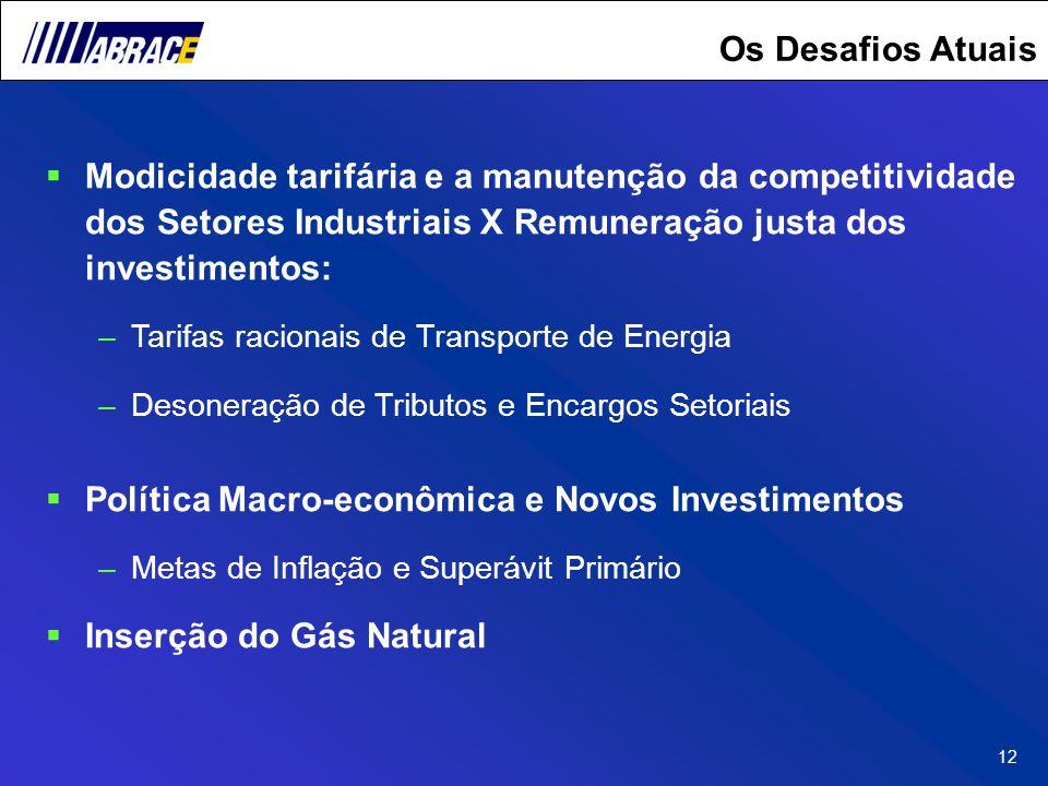 12 Os Desafios Atuais Modicidade tarifária e a manutenção da competitividade dos Setores Industriais X Remuneração justa dos investimentos: –Tarifas r
