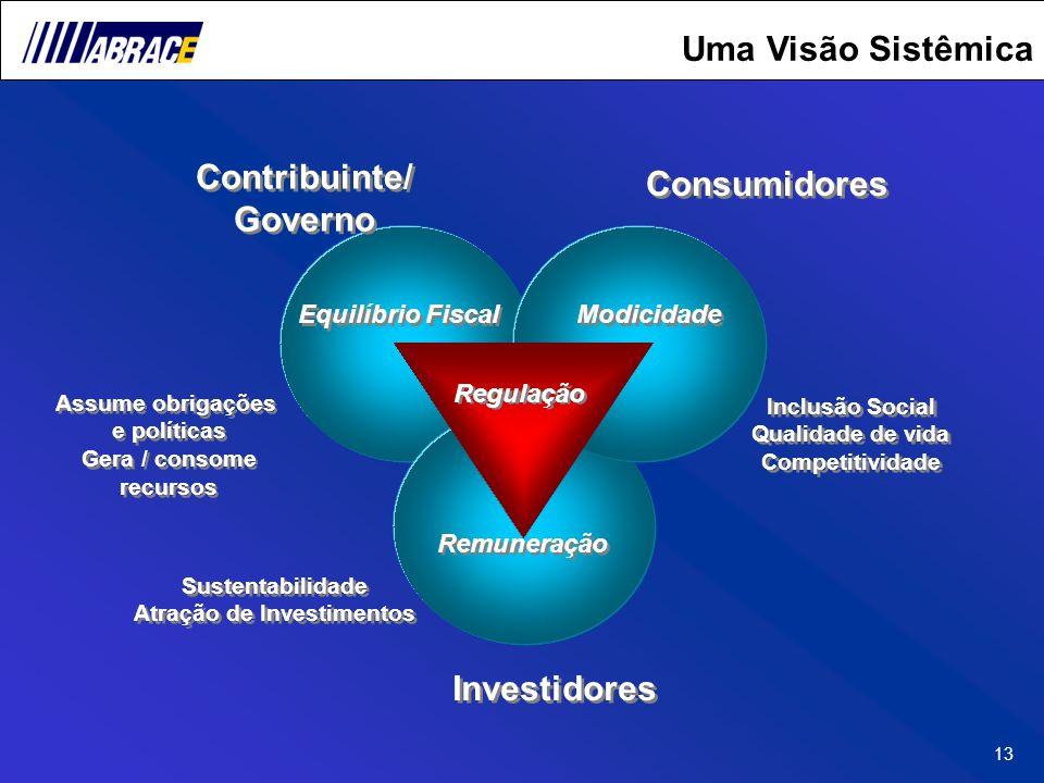 13 Equilíbrio Fiscal Remuneração Modicidade Regulação Investidores Consumidores Inclusão Social Qualidade de vida Competitividade Inclusão Social Qual