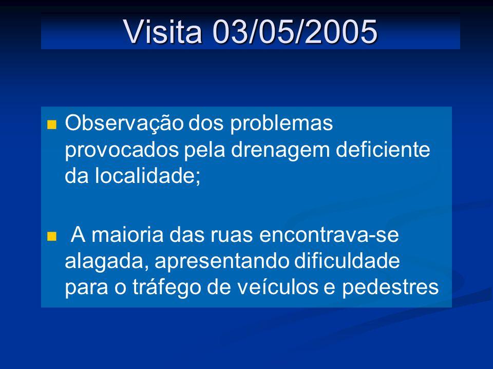 Visita 03/05/2005 Observação dos problemas provocados pela drenagem deficiente da localidade; A maioria das ruas encontrava-se alagada, apresentando dificuldade para o tráfego de veículos e pedestres