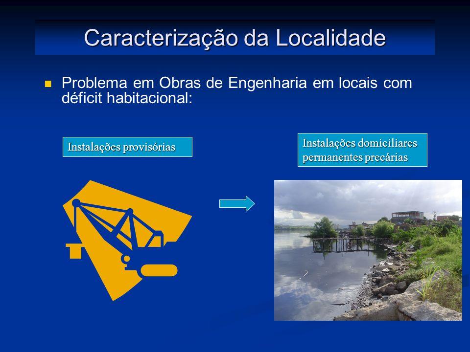 Caracterização da Localidade Problema em Obras de Engenharia em locais com déficit habitacional: Instalações provisórias Instalações domiciliares permanentes precárias