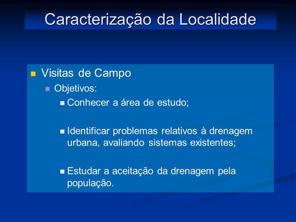 Caracterização da Localidade Visitas de Campo Objetivos: Conhecer a área de estudo; Identificar problemas relativos à drenagem urbana, avaliando sistemas existentes; Estudar a aceitação da drenagem pela população.