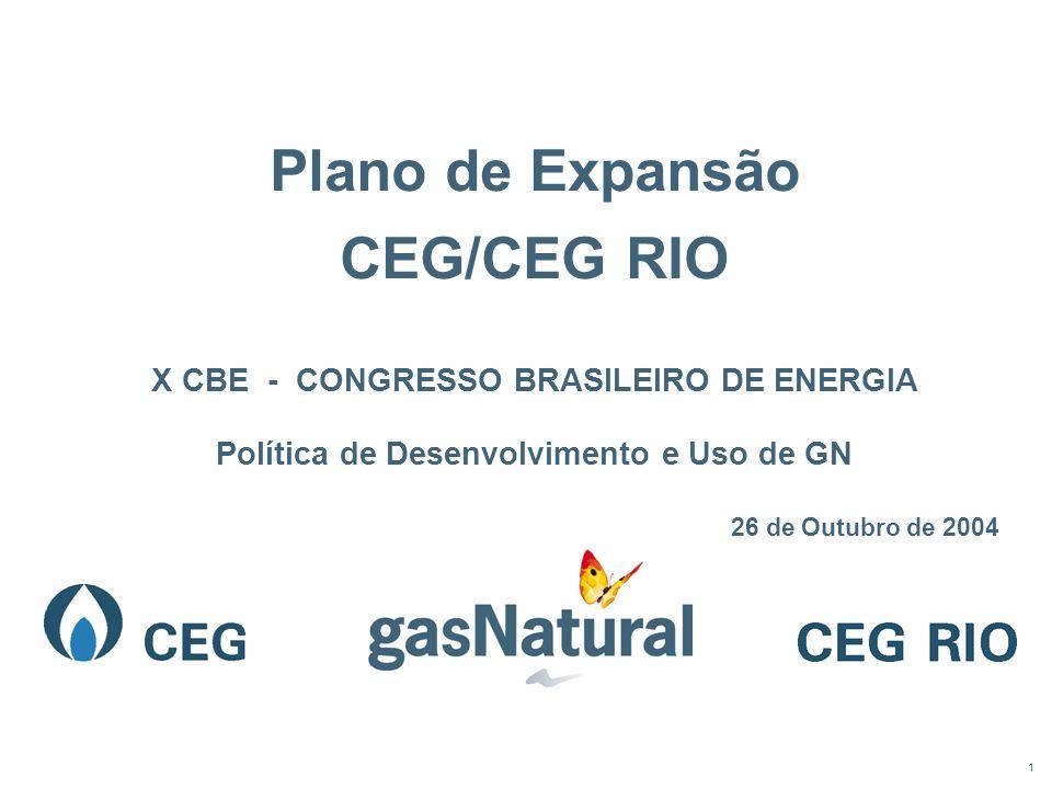 1 Plano de Expansão CEG/CEG RIO X CBE - CONGRESSO BRASILEIRO DE ENERGIA Política de Desenvolvimento e Uso de GN 26 de Outubro de 2004