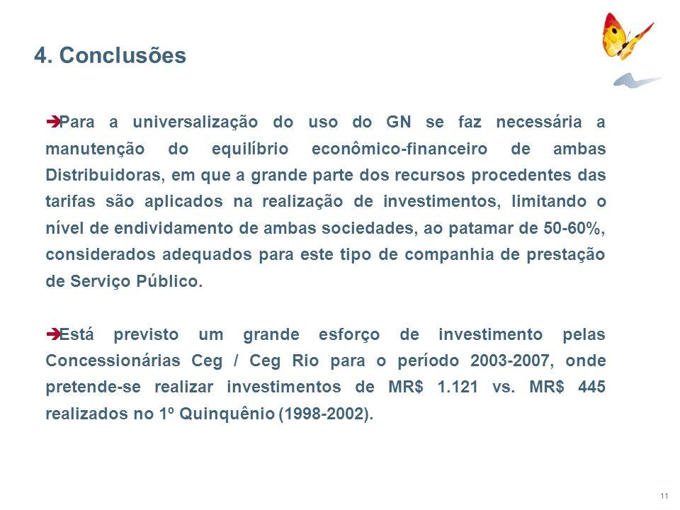 11 Para a universalização do uso do GN se faz necessária a manutenção do equilíbrio econômico-financeiro de ambas Distribuidoras, em que a grande part