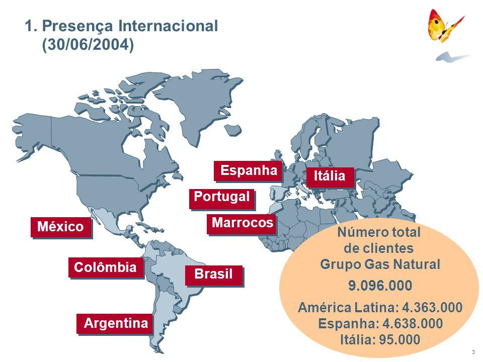 3 1. Presença Internacional (30/06/2004) México Itália Brasil Marrocos Portugal Espanha Argentina Colômbia Número total de clientes Grupo Gas Natural