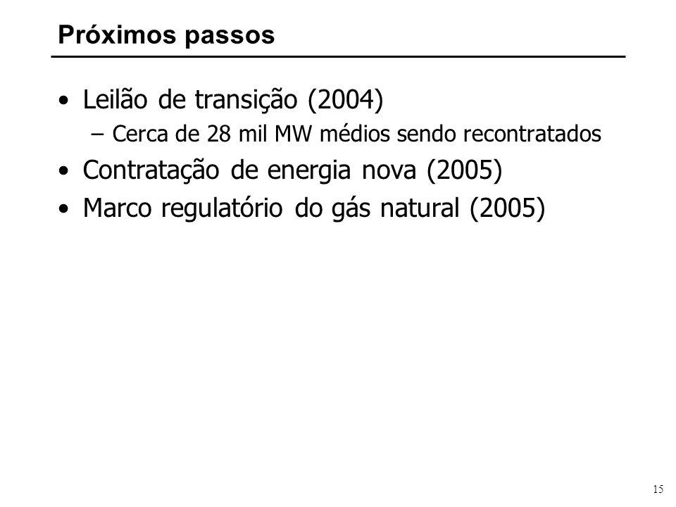 15 Próximos passos Leilão de transição (2004) –Cerca de 28 mil MW médios sendo recontratados Contratação de energia nova (2005) Marco regulatório do g