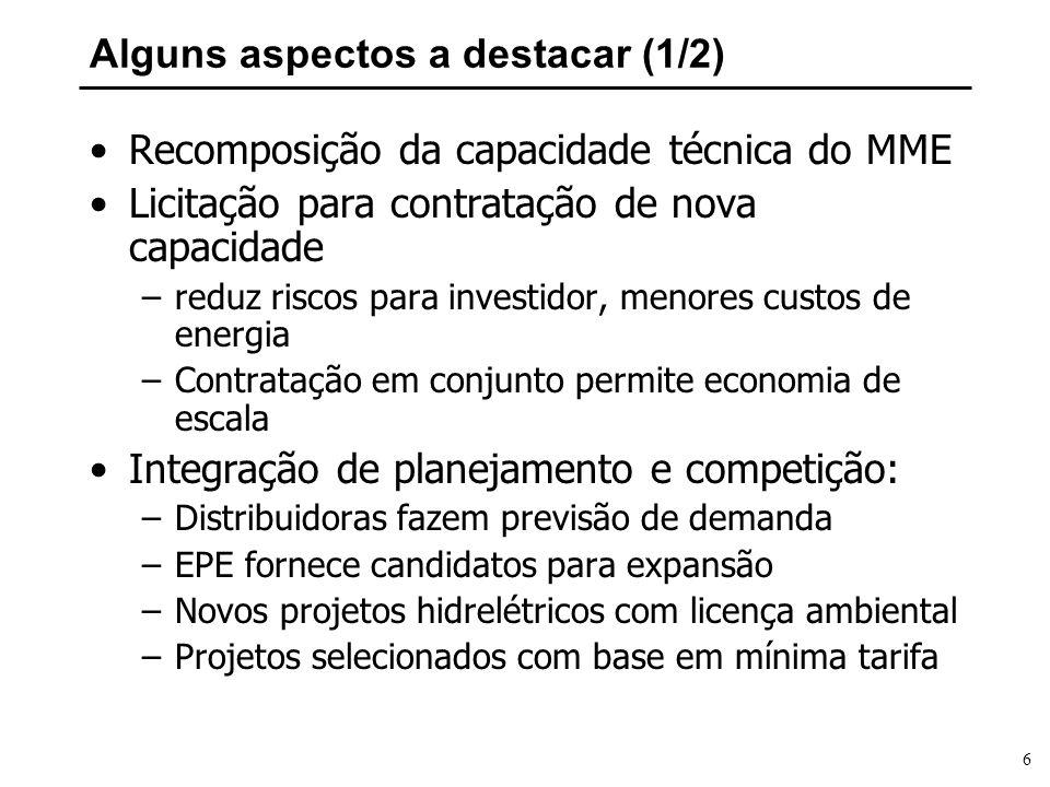 6 Alguns aspectos a destacar (1/2) Recomposição da capacidade técnica do MME Licitação para contratação de nova capacidade –reduz riscos para investid