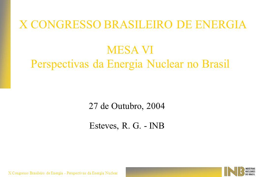 X Congresso Brasileiro de Energia - Perspectivas da Energia Nuclear MESA VI Perspectivas da Energia Nuclear no Brasil 27 de Outubro, 2004 Esteves, R.
