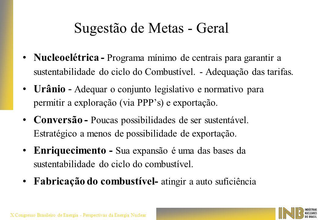 X Congresso Brasileiro de Energia - Perspectivas da Energia Nuclear Sugestão de Metas - Geral Nucleoelétrica - Programa mínimo de centrais para garant