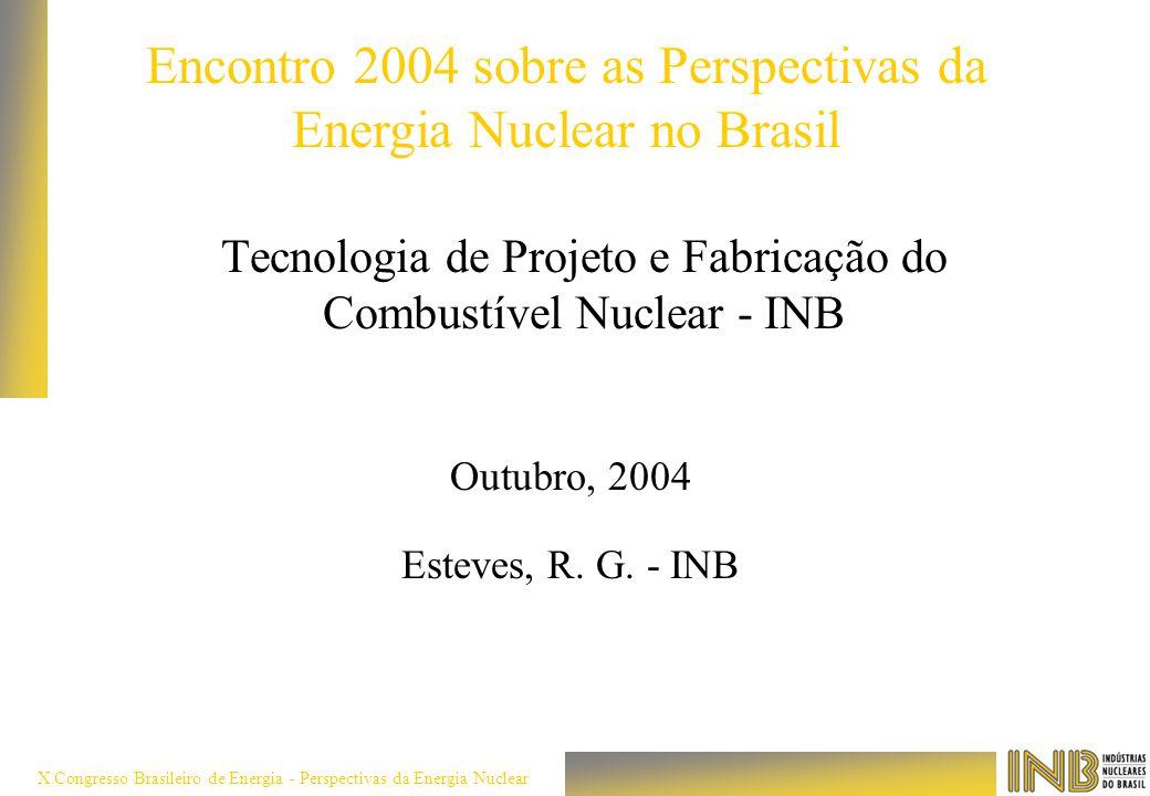 X Congresso Brasileiro de Energia - Perspectivas da Energia Nuclear Tecnologia de Projeto e Fabricação do Combustível Nuclear - INB Outubro, 2004 Este
