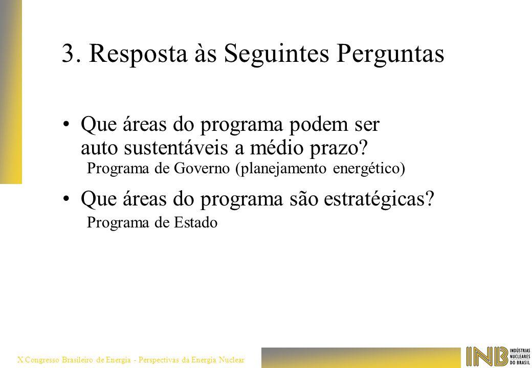 X Congresso Brasileiro de Energia - Perspectivas da Energia Nuclear 3. Resposta às Seguintes Perguntas Que áreas do programa podem ser auto sustentáve