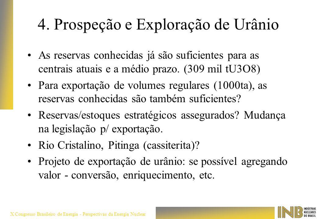 X Congresso Brasileiro de Energia - Perspectivas da Energia Nuclear 4. Prospeção e Exploração de Urânio As reservas conhecidas já são suficientes para