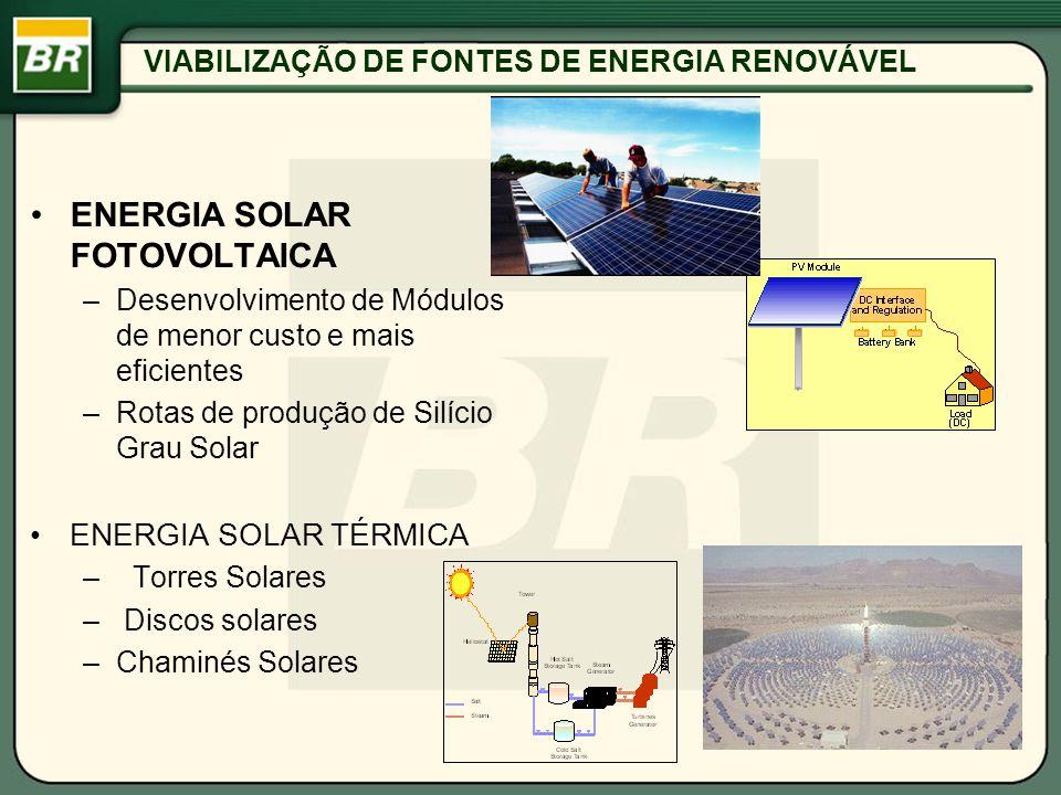 VIABILIZAÇÃO DE FONTES DE ENERGIA RENOVÁVEL ENERGIA SOLAR FOTOVOLTAICA –Desenvolvimento de Módulos de menor custo e mais eficientes –Rotas de produção