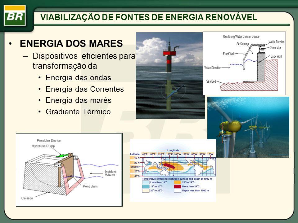 VIABILIZAÇÃO DE FONTES DE ENERGIA RENOVÁVEL ENERGIA DOS MARES –Dispositivos eficientes para transformação da Energia das ondas Energia das Correntes E