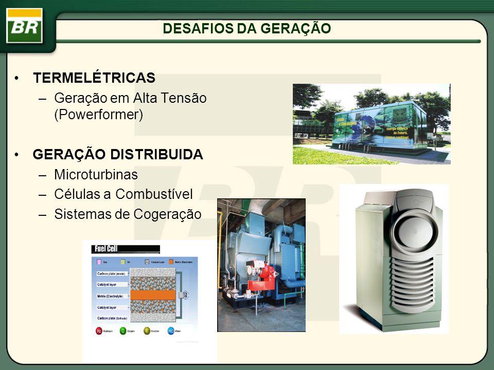 DESAFIOS DA GERAÇÃO TERMELÉTRICAS –Geração em Alta Tensão (Powerformer) GERAÇÃO DISTRIBUIDA –Microturbinas –Células a Combustível –Sistemas de Cogeraç