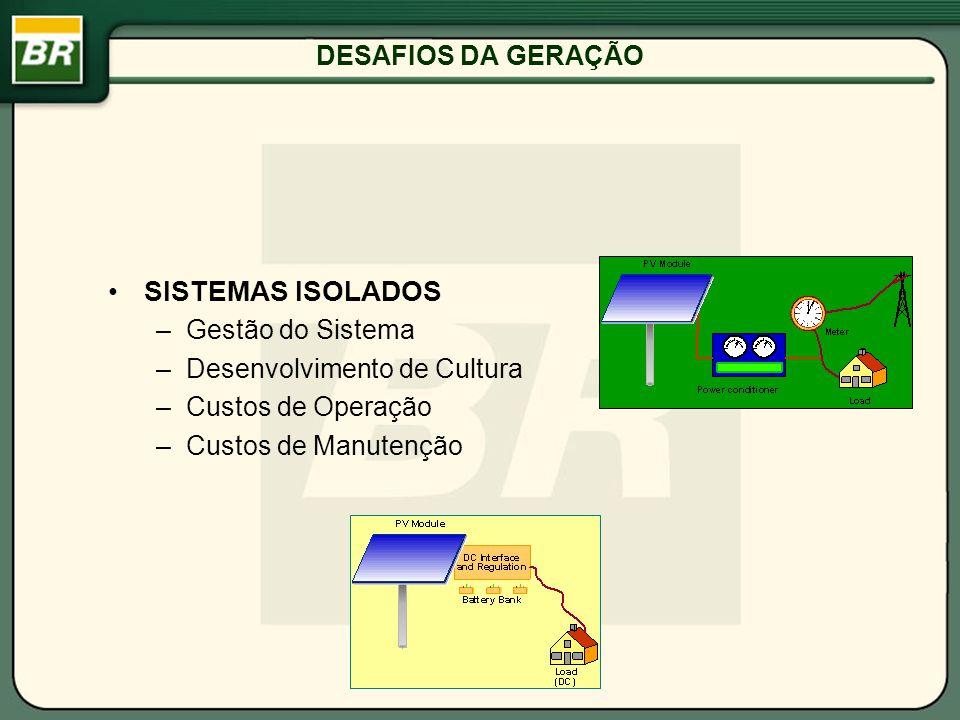 DESAFIOS DA GERAÇÃO SISTEMAS ISOLADOS –Gestão do Sistema –Desenvolvimento de Cultura –Custos de Operação –Custos de Manutenção