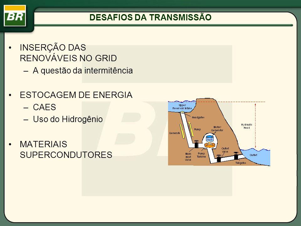 DESAFIOS DA TRANSMISSÃO INSERÇÃO DAS RENOVÁVEIS NO GRID –A questão da intermitência ESTOCAGEM DE ENERGIA –CAES –Uso do Hidrogênio MATERIAIS SUPERCONDU