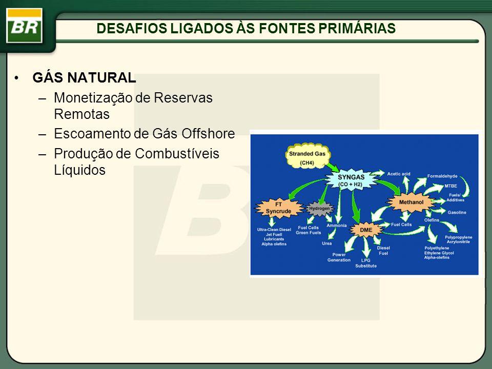 DESAFIOS LIGADOS ÀS FONTES PRIMÁRIAS GÁS NATURAL –Monetização de Reservas Remotas –Escoamento de Gás Offshore –Produção de Combustíveis Líquidos