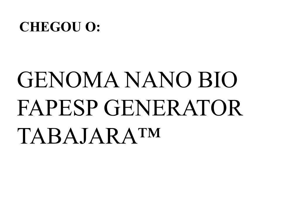 CHEGOU O: GENOMA NANO BIO FAPESP GENERATOR TABAJARA