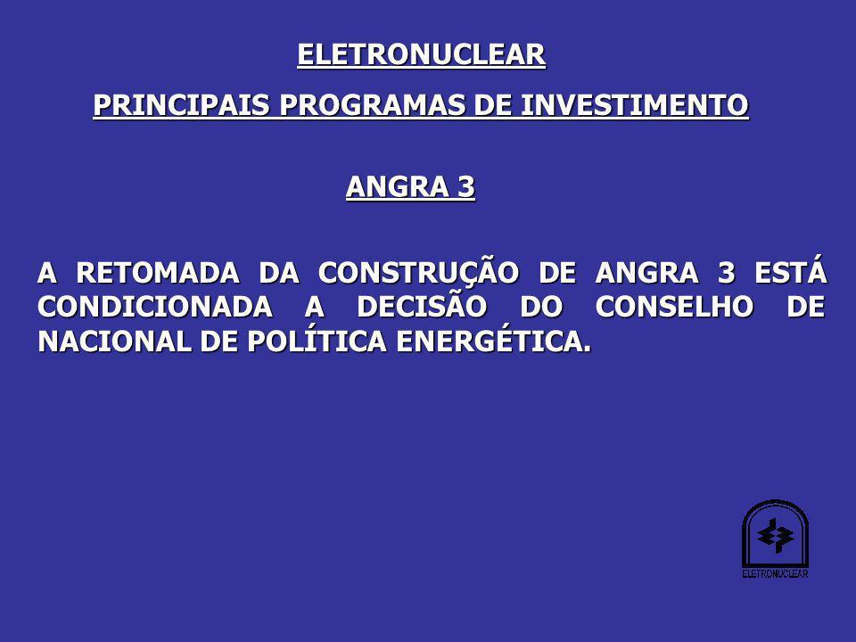 ANGRA 3 A RETOMADA DA CONSTRUÇÃO DE ANGRA 3 ESTÁ CONDICIONADA A DECISÃO DO CONSELHO DE NACIONAL DE POLÍTICA ENERGÉTICA.