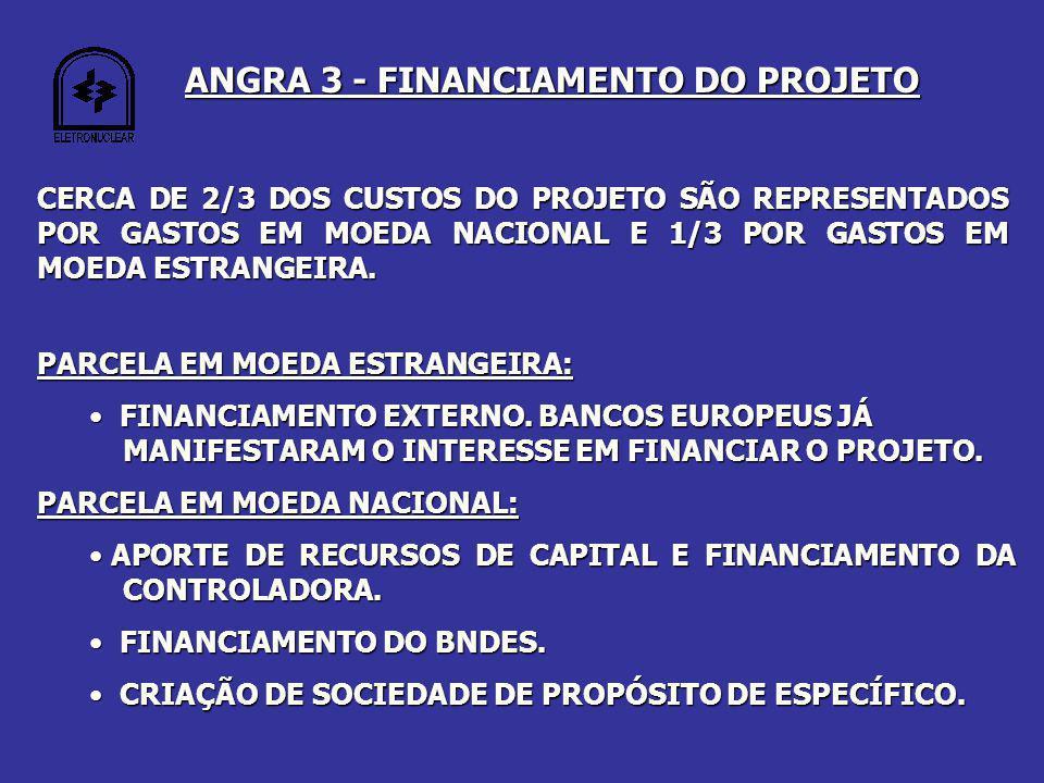 ANGRA 3 - FINANCIAMENTO DO PROJETO CERCA DE 2/3 DOS CUSTOS DO PROJETO SÃO REPRESENTADOS POR GASTOS EM MOEDA NACIONAL E 1/3 POR GASTOS EM MOEDA ESTRANGEIRA.