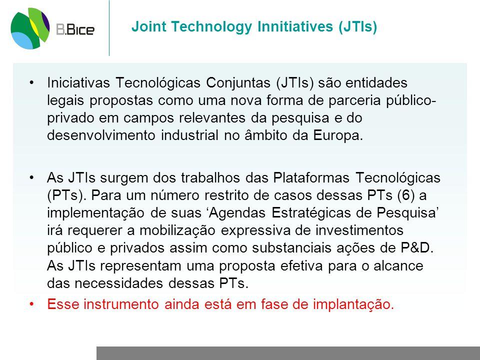 Joint Technology Innitiatives (JTIs) Iniciativas Tecnológicas Conjuntas (JTIs) são entidades legais propostas como uma nova forma de parceria público-