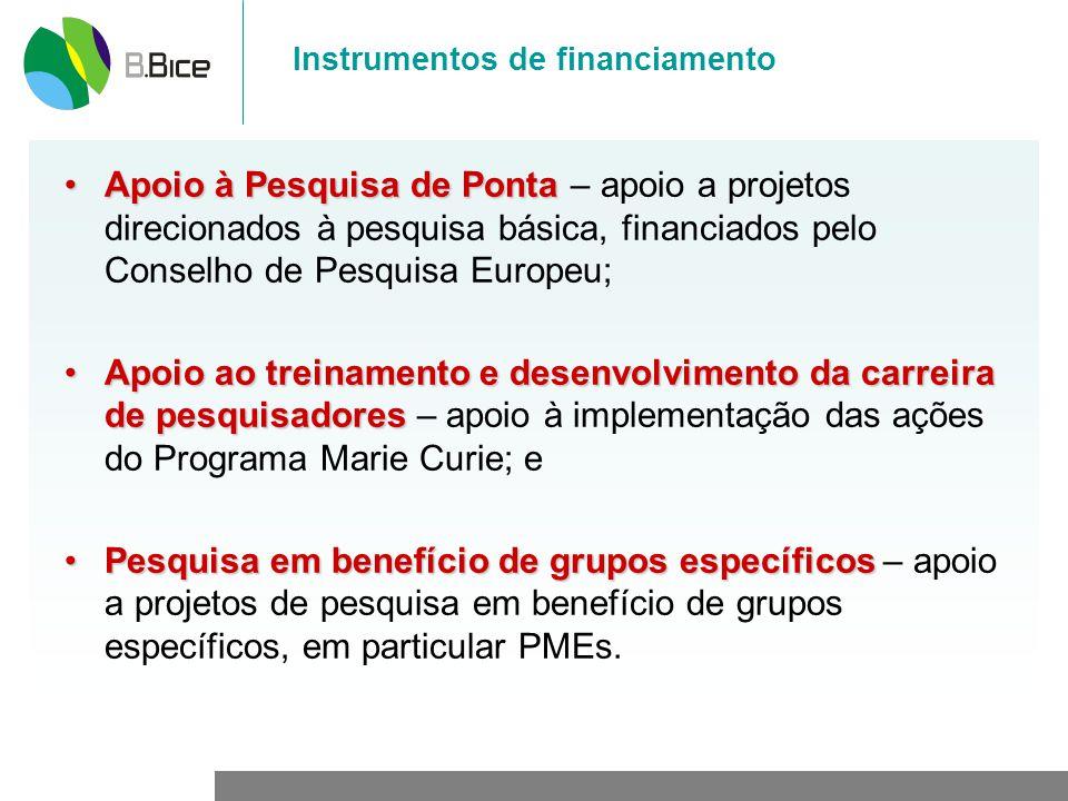 Instrumentos de financiamento Apoio à Pesquisa de PontaApoio à Pesquisa de Ponta – apoio a projetos direcionados à pesquisa básica, financiados pelo Conselho de Pesquisa Europeu; Apoio ao treinamento e desenvolvimento da carreira de pesquisadoresApoio ao treinamento e desenvolvimento da carreira de pesquisadores – apoio à implementação das ações do Programa Marie Curie; e Pesquisa em benefício de grupos específicosPesquisa em benefício de grupos específicos – apoio a projetos de pesquisa em benefício de grupos específicos, em particular PMEs.