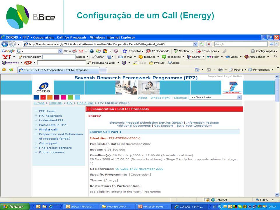 Configuração de um Call (Energy)
