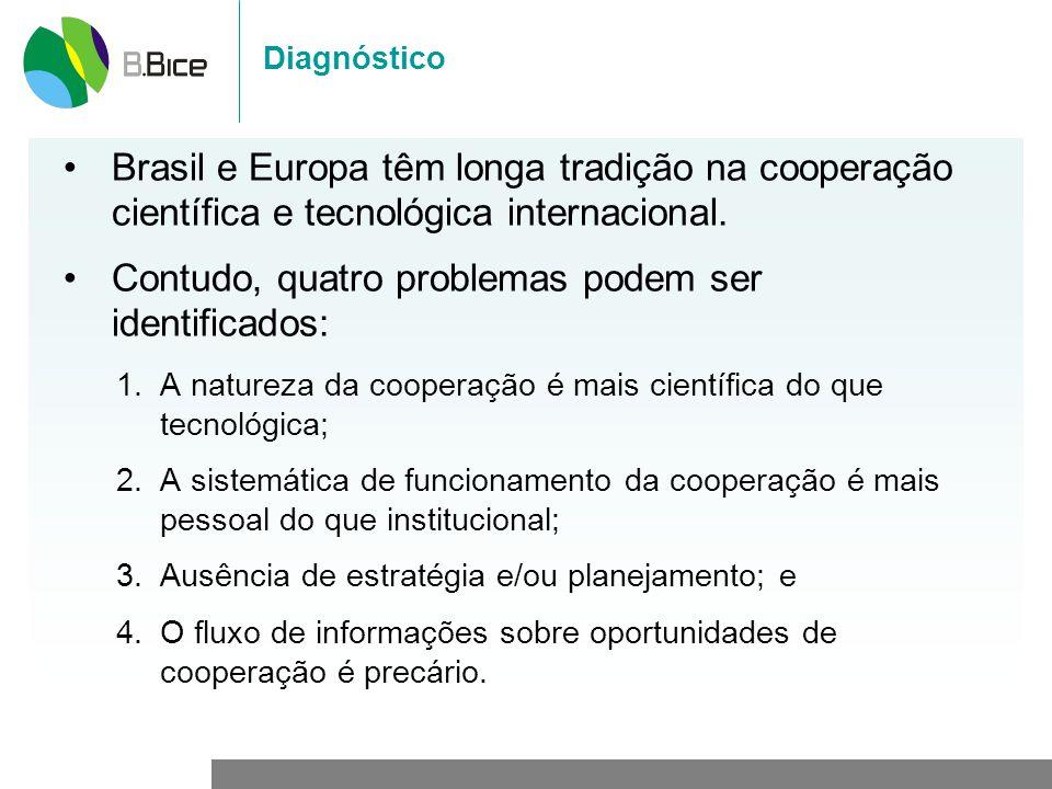 Diagnóstico Brasil e Europa têm longa tradição na cooperação científica e tecnológica internacional. Contudo, quatro problemas podem ser identificados