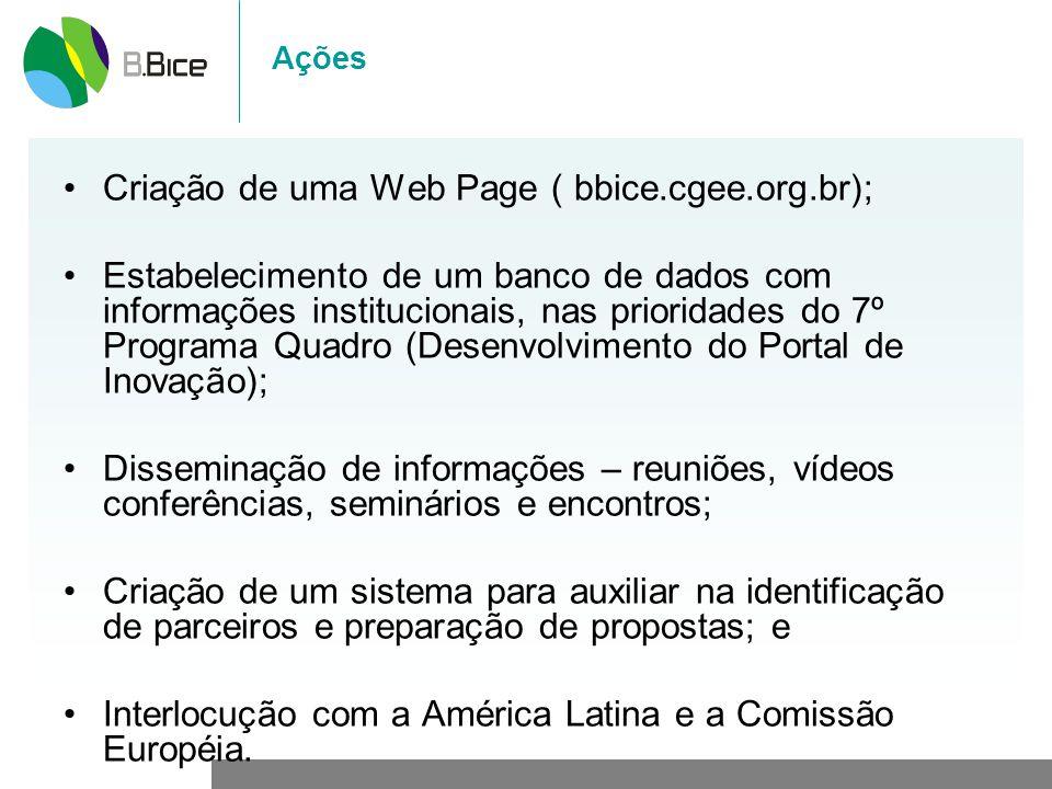 Ações Criação de uma Web Page ( bbice.cgee.org.br); Estabelecimento de um banco de dados com informações institucionais, nas prioridades do 7º Program