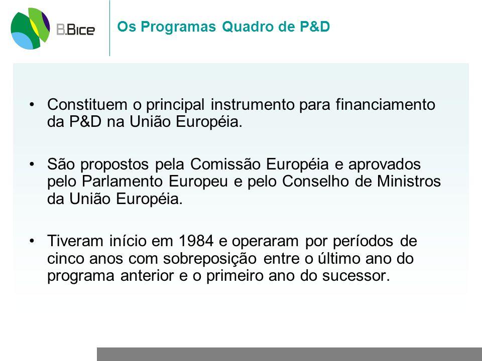 Os Programas Quadro de P&D Constituem o principal instrumento para financiamento da P&D na União Européia. São propostos pela Comissão Européia e apro