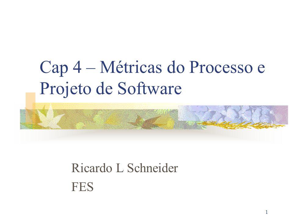 22 Métricas integradas com o processo de software Processo Projeto Produto Coleta de dados Coleta de dados Computação das métricas Computação das métricas Avaliação das métricas Avaliação das métricas Medidas Métricas Indicadores