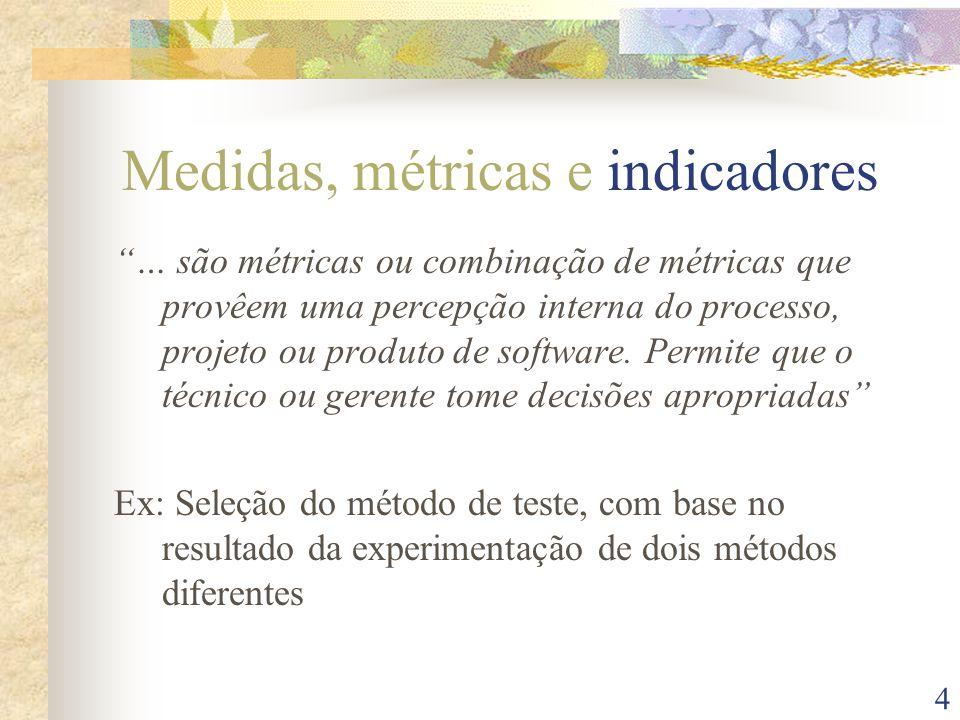 5 Métricas de processo Produto Pessoas Tecnologia Condições de negócios Caracteristicas do cliente Ambiente de desenvolvimento Processo