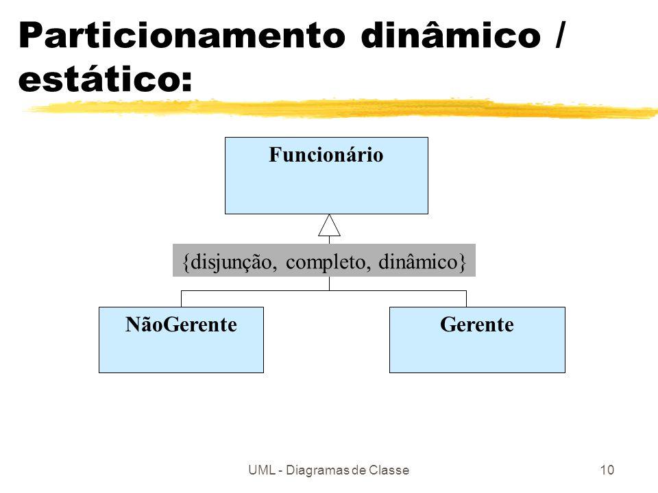 UML - Diagramas de Classe10 Particionamento dinâmico / estático: Funcionário GerenteNãoGerente {disjunção, completo, dinâmico}
