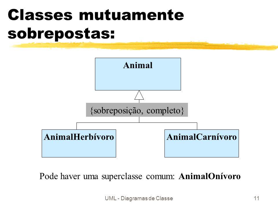 UML - Diagramas de Classe11 Classes mutuamente sobrepostas: Animal AnimalCarnívoroAnimalHerbívoro {sobreposição, completo} Pode haver uma superclasse comum: AnimalOnívoro