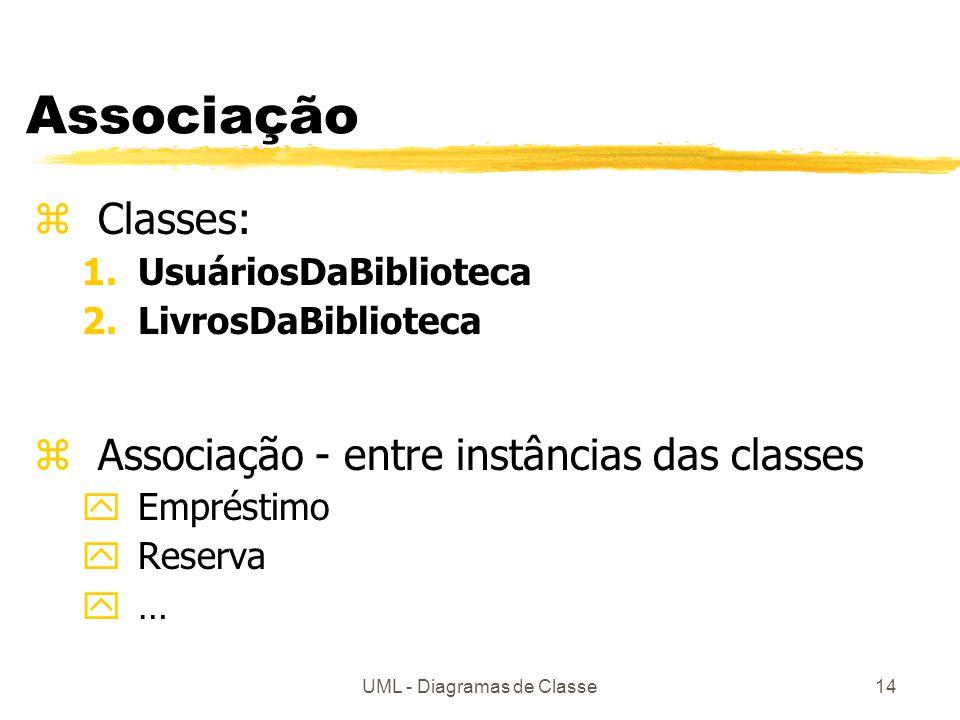 UML - Diagramas de Classe14 Associação zClasses: 1.UsuáriosDaBiblioteca 2.LivrosDaBiblioteca zAssociação - entre instâncias das classes yEmpréstimo yR